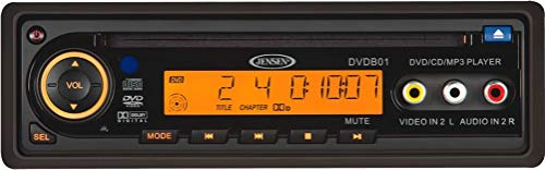 Jensen DVDB01 12-Volt CD/DVD/MP3/WMA Player, DIN Mount, Positive Amber Colored LCD, Parental Lock, Clock, Volume and Mute Controls, Front & Rear A/V Inputs, Full-function Wireless Remote
