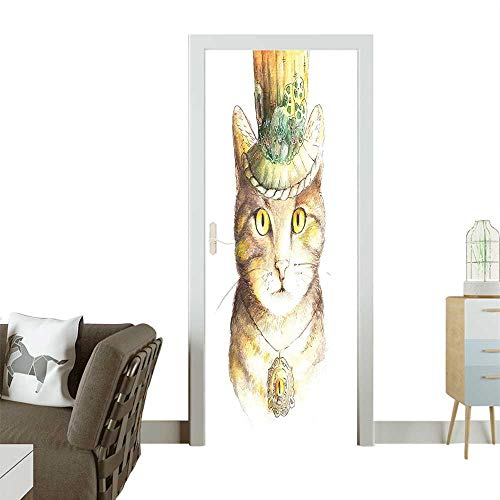 (Waterproof Decoration Door Decals Spiritual Cat Hat Eye Collar Grunge Celtic Trick Theme Light Brown Perfect ornamentW38.5 x H79)