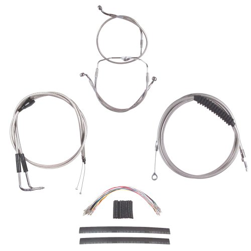 Hill Country Customs Complete Stainless Cable Brake Line Kit for 22'' Handlebars 1996-2006 Harley-Davidson Touring Models with Cruise Control - HC-CKC11522-SS by Hill Country Custom Cycles