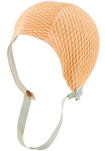 Peach Crepe (Silicone Swim Cap - Women Stylish Swimming Cap Great For Ladies, Perfect To Keep Hair Dry - Suitable For Long Hair - Bubble Crepe With Chin Strap - Peach)