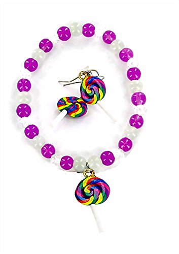 Linpeng Lollipop Charm Beaded Bracelet & Earrings Kids Jewelry Set in Beautiful Pouch