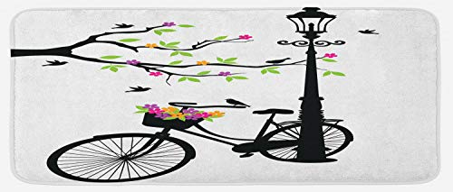 Ambesonne Nature Kitchen Mat, Spring Tree Birds Bike Basket with Colorful Flowers Blossom European City Theme, Plush Decorative Kitchen Mat with Non Slip Backing, 47 W X 19 L Inches, Multicolor