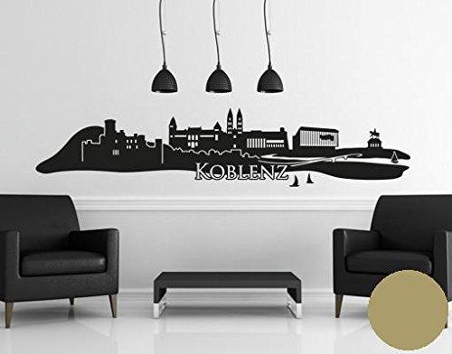 Klebefieber Wandtattoo Skyline Koblenz B x H  150cm x 32cm Farbe  Gold
