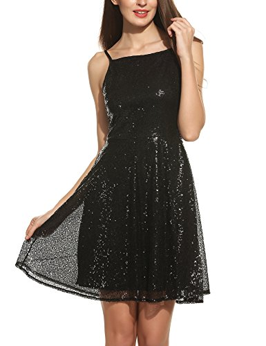 [Meaneor Women's Plus Size Sequin Cocktail Sheath Short Dress Fit and Flare Dress Black S] (Womens Black Sequin Short Dress)
