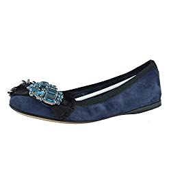 Suede With Crystal Decorated Flats