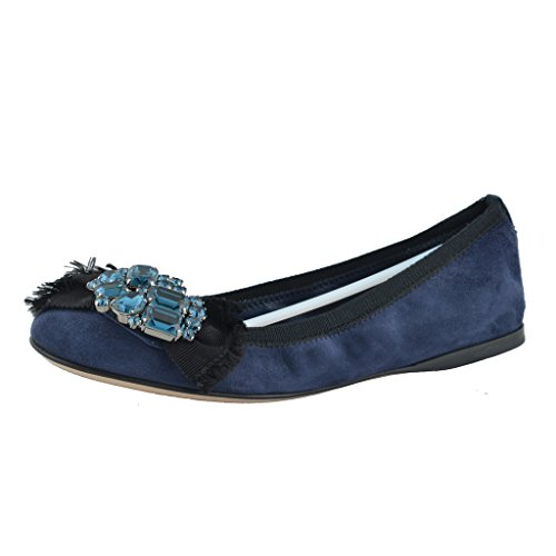 - Miu Miu Women's Suede Dark Blue Crystal Decorated Ballet Flat Shoes US 6.5 IT 36 1/2;