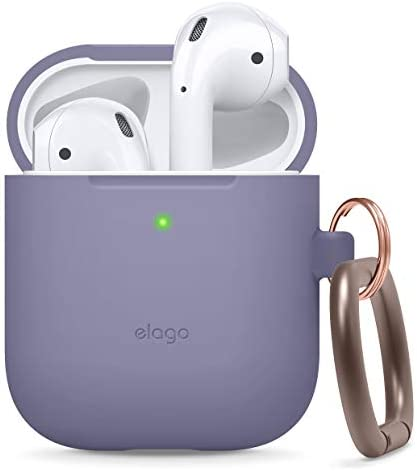elago Silicone Case with Keychain Designed for Apple AirPods Case [Front LED Visible] [Lavender Grey]
