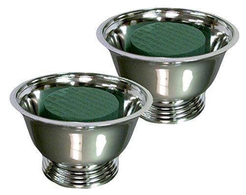 Centerpiece Arrangement Kit (2 Kit Pack) - Each Kit Has (1) Oasis #5 Floral Foam Cylinder + (1) Vacuum Orna Metal Plastic Silver Plated Revere Bowl