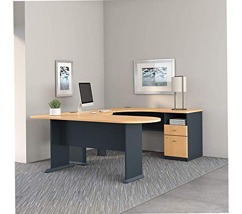 Wood & Style Furniture U Shaped Corner Desk with Peninsula and Storage in Beech and Slate Premium Office Home Durable Strong