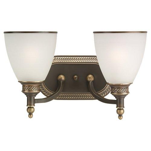 - Sea Gull Lighting 44350-708 Laurel Leaf Two-Light Wall / Bath Vanity Style Lights, Estate Bronze