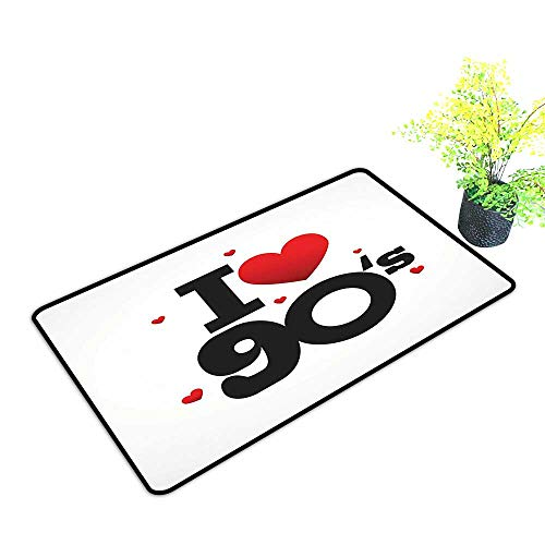Entrance Door Mat Large I Love 90s Illustration Hearts Decade Good Old Days Favorite Times Passion Dress Up Your Doorway W17 x H13 INCH