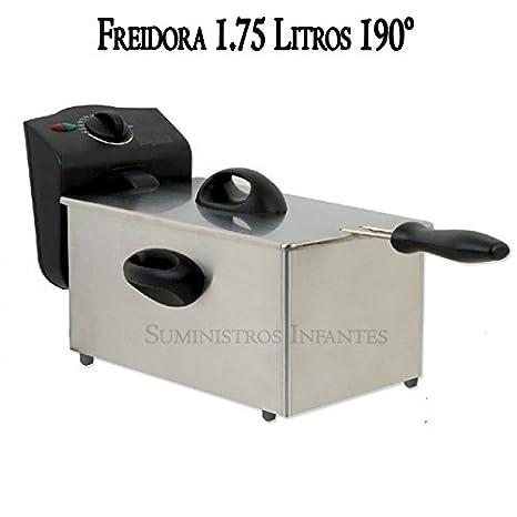 Freidora eléctrica 2 litros. Potencia 1500W. Interior con recubrimiento antiadherente. Capacidad aceite 1