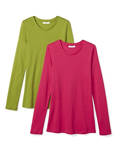 Daily Ritual Women's Midweight 100% Supima Cotton Rib Knit Long-Sleeve Crew Neck T-Shirt, 2-Pack