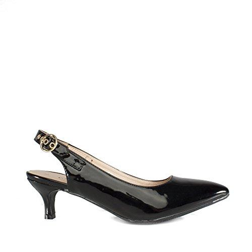 Back Ladies Black Patent Millie Shoes Comfort Sling Court Plus Black zqnpxwH