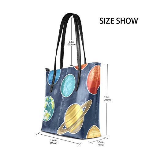 PU Shoulder Planets System TIZORAX Fashion Handle Leather Bags Totes Purses Solar Top Women's Handbag ZqIfEv