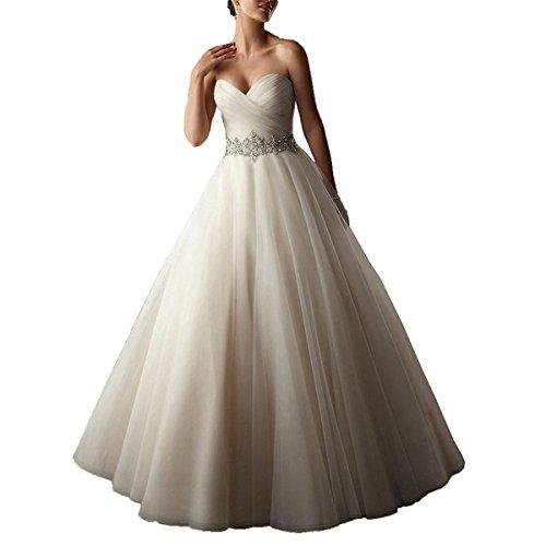 YIPEISHA Women's Sweetheart Tulle Ball Gowns Wedding Dress Beaded Corset Bridal Dresses 17W - Sweetheart Wedding Dress Corset