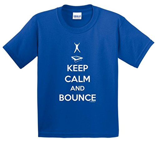 Keep Calm and Bounce, Trampoline Youth T-Shirt Medium Royal