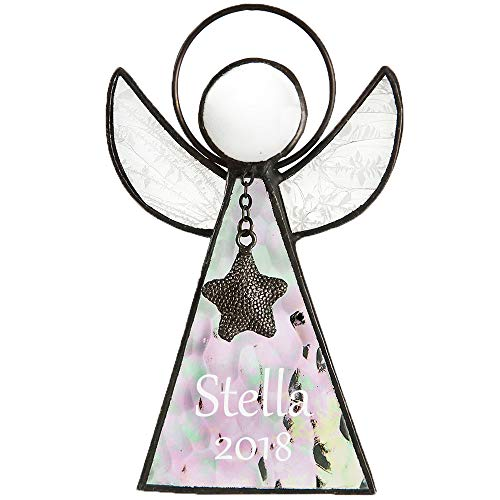 J Devlin ORN 215-1 EO104 Personalized Glass Angel Ornament or Window Sun Catcher Clear Iridescent Engraved Stained Glass Keepsake -