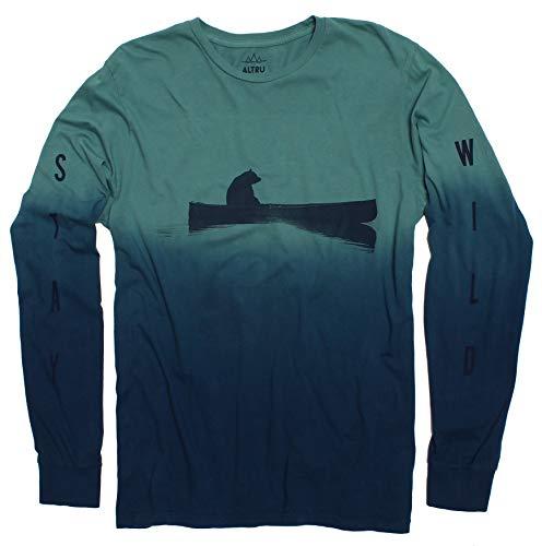 Up a Creek Bear in a Canoe dip-dye Long Sleeve Men's Green Graphic tee Shirt