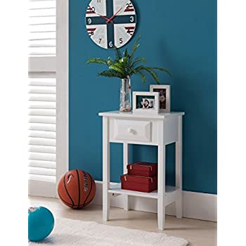 Kings Brand Furniture Wood Side Accent Night Stand Table, White