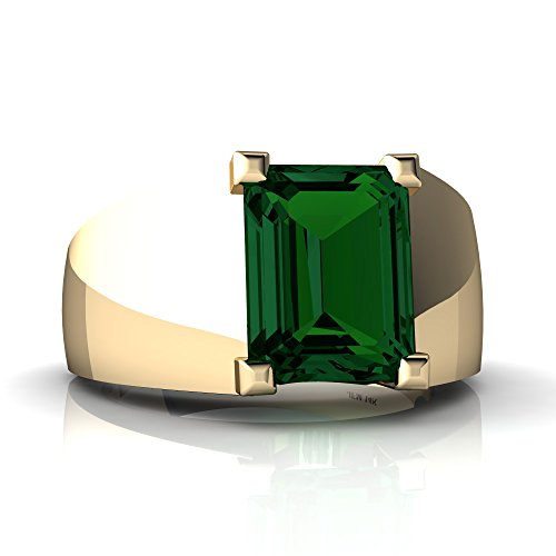 14kt Yellow Gold Lab Emerald 9x7mm Emerald_Cut Men's Ring - Size 14 ()