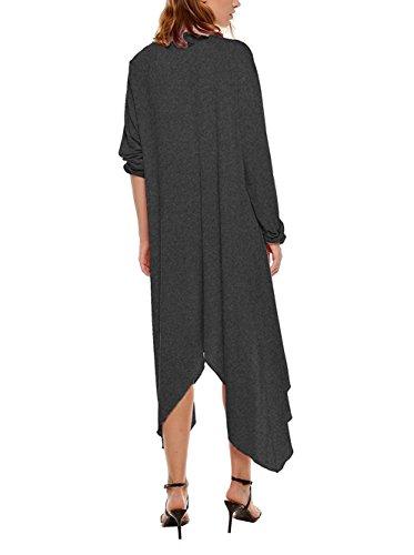 Vintage Manteau Veste en Oversize Tricot Manche Maxi Cardigan Pull Asym Femme Longue Uni Longue qZnIfwXPt