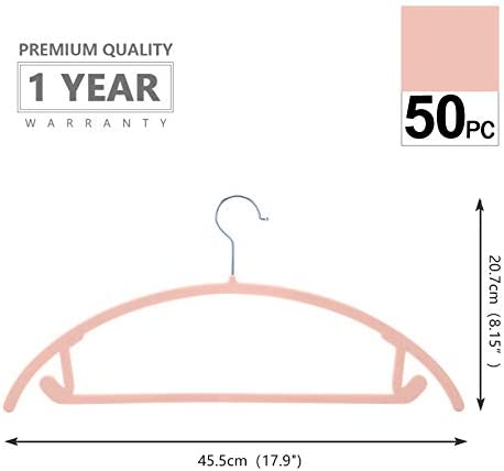 Pack of 50 Premium Velvet Hangers Heavyduty- Non Slip No Shoulder Bump Suit Hangers Chrome Hooks,Space Saving Clothes Hangers,Rounded Hangers for Coat,Sweater,Jackets,Pants,Shirts Blush Pink//Rose