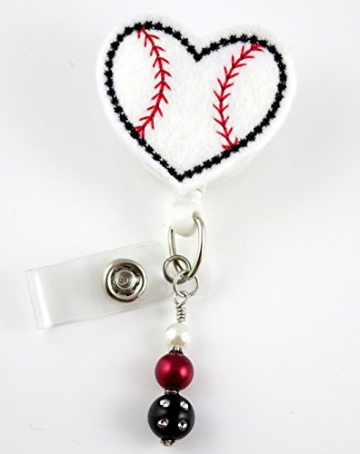 Baseball Heart Shaped - Nurse Badge Reel - Retractable ID Badge Holder - Nurse Badge - Badge Clip - Badge Reels - Pediatric - RN - Name Badge Holder