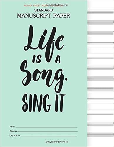 Music Manuscript Paper Blank Sheet Music Christmas Edition Staff Paper Musicians Notebook