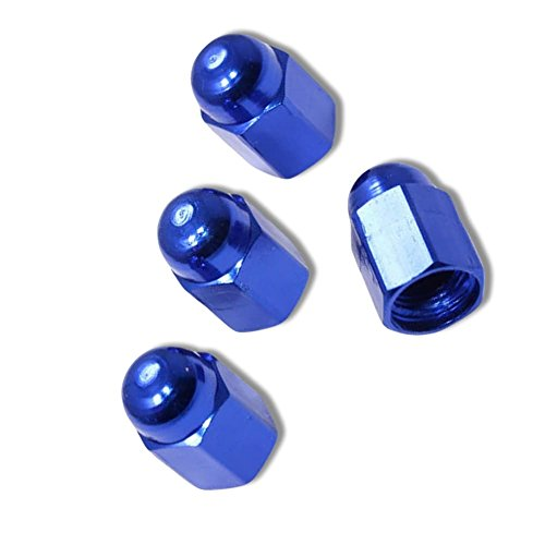 """(4 Count) Cool & Custom """"Hexagon Dome Top"""" Tire Wheel Valve Stem Cap Seal Made of Metal {Blue Color - Metal Internal Threads for Easy Application - Rust Proof - Fits For Most Cars} by mySimple Products (Image #1)"""