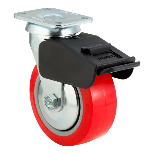 E.R. Wagner Plate Caster, Swivel with Total-Lock Brake, Thread Guard, Polyurethane on Polyolefin Wheel, Roller Bearing, 600 lbs Capacity, 4