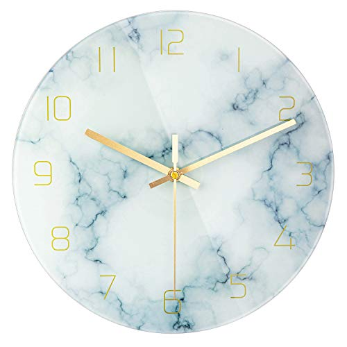 PATGO Glass Marble Silent Wall Clock for Living Room Decor, 12 Inch Modern Non Ticking Decorations for Aesthetic Bedroom, Office, Kitchen Battery Operated