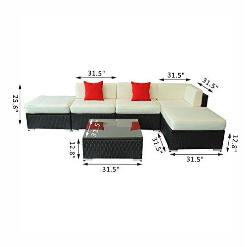 Deluxe Outdoor Rattan Garden Wicker 6-Piece Sofa Set Patio Sectional Furniture
