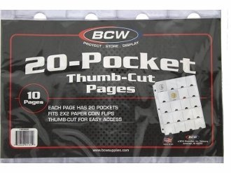BCW Vinyl 20 Pocket Pages With Thumb Cut 10 Ct. Pack