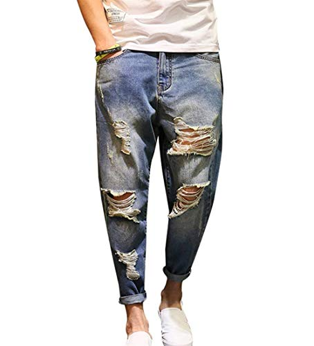 Distrutti Stretch Blau Fit Denim Da Strappati Harem Slim Jeans Casual Uomo Pantaloni Moderna In wTftqnXA
