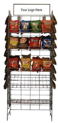 Commercial Grade Metal Convenience Store Chip / Bagged Merchandise Rack, Black