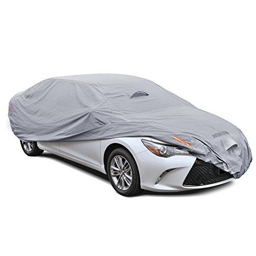 Motor Trend TrueShield Waterproof Car Cover - Heavy Duty Outdoor Fleece-Lined Sonic Coating - Ultimate 6 Layer Protection (XL Up to 210