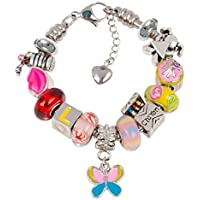 Timeline Treasures European Charm Bracelet Charms Girls, Stainless Steel Snake Chain, Pink Back to School