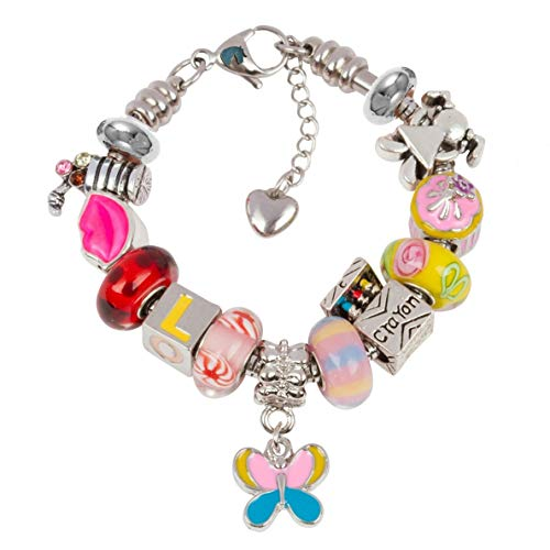 Timeline Treasures European Charm Bracelet with Charms for Girls, Stainless Steel Snake Chain, Back to School, Pink 6.5 Inch (16.5cm)