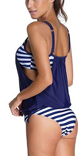 Avvolgere Blu LATH Bikini Imbottito Piscina Taglie Forti PIN Bagno con Costumi Costume Pancia Slip Tankini Copre da da Sportivo Donne bagno Mare x11fr