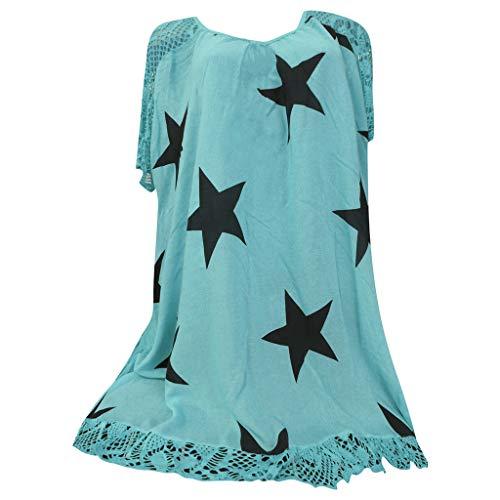 YKARITIANNA Women Star Pattern 2019 Soft Tops Punk Rock T Shirt Lace Patchwork Floral Blouse Tee Blue -