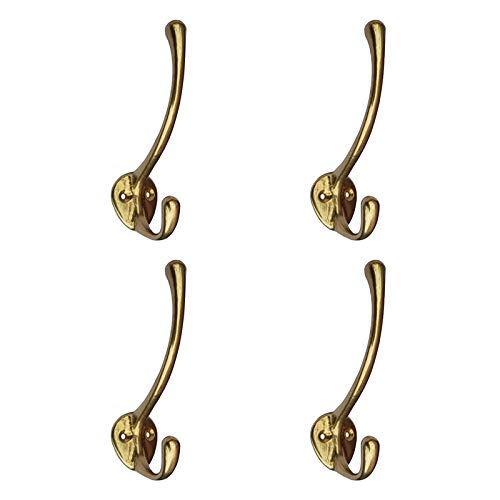 (Tiazza 4Pcs Antique Solid Brass Clothes Hooks Entryway Coat Hooks Scarf and Jacket Hangers Perfect Bath Towel Heavy Hooks (Gold))
