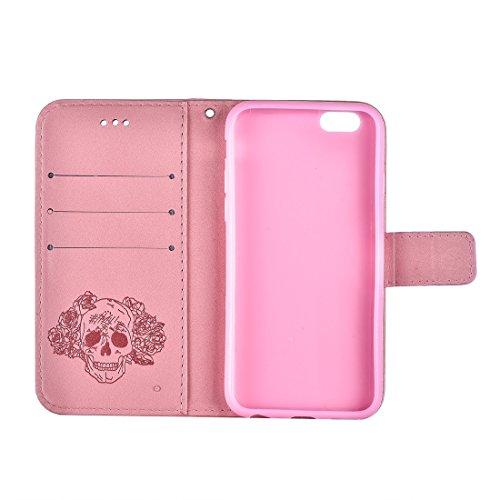 Protege tu iPhone, Para iPhone 6 y 6s Crazy Horse Textura Cráneo de impresión Horizontal Flip caja de cuero con el titular y ranuras para tarjetas y Cartera y Lanyard Para el teléfono celular de Iphon Rosa