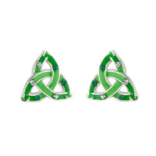 Lucky Trinity Knot Earrings Studs Enamel & Crystal Irish Made