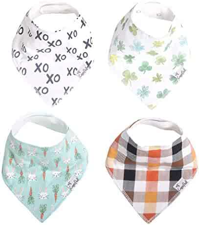 "Baby Bandana Drool Bibs for Drooling and Teething 4 Pack Gift Set ""Holiday"" by Copper Pearl"
