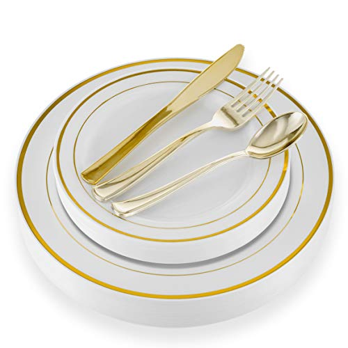 125 Piece Elegant Disposable Gold Plastic Plates Silverware Set for Parties and Wedding | Heavyweight Dinnerware | 25 Dinner Plates, 25 Dessert Plates, 25 Forks, 25 Spoons, 25 Knives | 100% BPA-Free -