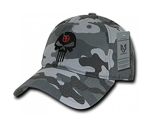 (Superheroes RapDom Punisher Skull & Target Relaxed Fit Urban Camo Embroidered Hat/Cap)