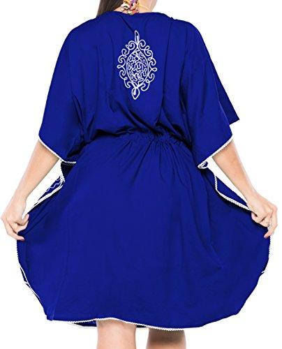 kimono rayon maxi casual v657 abito abito poncho da top LEELA boho breve costumi signore tunica Blu donne LA sundress bagno da caftano costume spiaggia coprire bagno YTXPqw