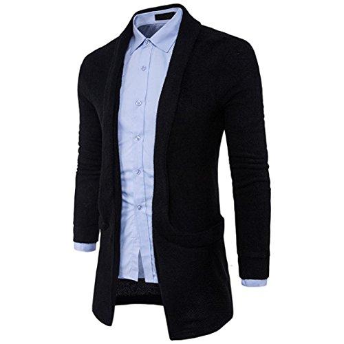 Hombre Ropa RETUROM Punto Abrigo de Larga Hombre para Negro Chaqueta Cardigan de suéter sólido Moda pIAqAd