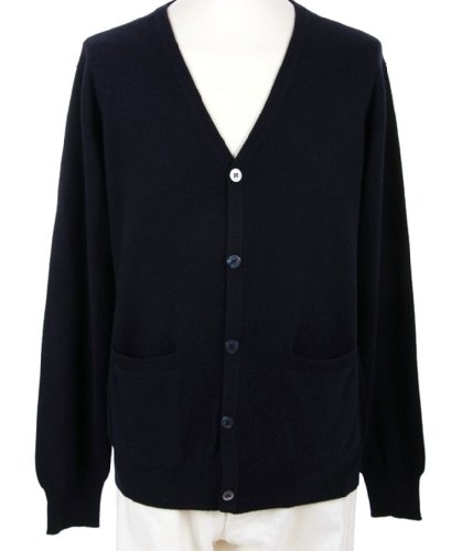 (Shephe Men's Cardigan Button Closure Cashmere Sweater Navy Large)